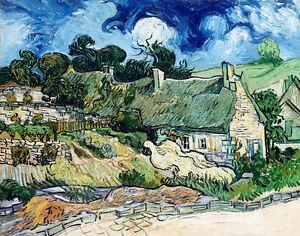 Thatched Cottages at Cordeville by Vincent van Gogh 75cm x 59cm Canvas print