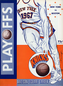 1967 NBA PLAYOFFS BOSTON CELTICS vs. NEW YORK KNICKS GAME PROGRAM (UNSCORED) NM