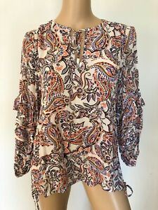 SUSSAN long sleeve multi-coloured floral paisley top blouse fits 12 NWT