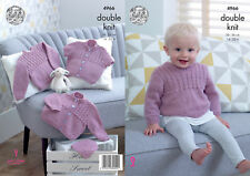 Baby Double Knitting Pattern Cable Knit Sweater Cardigans & Hat King Cole 4966