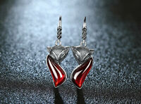 Retro 925 Sterling Silver Ruby Garnet Fox Earrings UK Seller