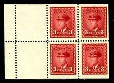 CANADA BOOKLET PANE/4 #251a 3c DARK CARMINE, 1942 KGVI WAR, F-VF, MLH
