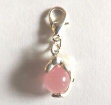 charms argentée dauphin perle oeil de chat en verre rose