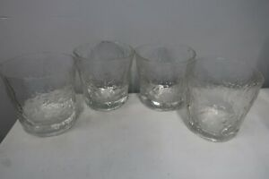 4 Vintage Clear Glass Tumblers Morgantown Crinkle Textured Glass