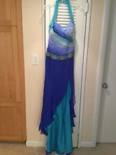 ALYCE Designs Halter Pageant prom formal long dress Royal blue ombre w/train 8
