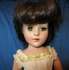 "Beautiful Hard Plastic Vintage Brunette 17"" Doll ~Tagged Cissy Gown"