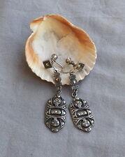 Vintage Deco Drop Dangle Sterling Silver Marcasite Earrings