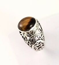Sterling Silver Cabochon Oval Shaped Tiger Eye Filigree Ring. Size 7&1/2