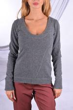 j lindeberg women pure 100% Cashmere Gray Sweater, Damen Grau Kaschmir Pullover