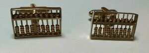 Abacus Cuff Links Gold Tone Moving Working Parts, Vintage