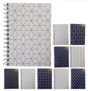 Various Premium Geometric Print A5 Lined Notepads 80gsm 70 Sheets