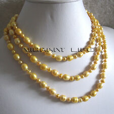 """49"""" 4-9mm Golden Off Round Rice Freshwater Pearl Necklace U"""