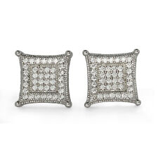 Mens 10mm Kite Studs Silver Plated Micro Pave Cz Screw Back Earrings Hip Hop