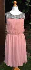 TopShop TALL Dress - Dusky Pink Crinkled with Beaded Neckline - UK 14 RRP £65