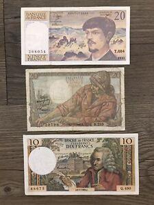 1943 1969 1991 France Banque de France 20 Francs 10 Francs Lot 3