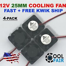 12V 25mm Mini Cooling Fan 2510 25x25x10mm 2-pin DC Small Micro Cooler 4-Pack