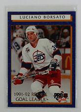 1992-93 Pro Set Hockey Luciano Borsato 8 of 12 Rookie Goal Leader Winnipeg Jets