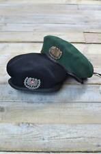 Vintage Austriaco De Lana Militar ribetes de cuero Boina - Verde/Azul