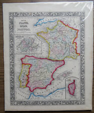 1860 AUGUSTUS MITCHELL MAP of FRANCE SPAIN & PORTUGAL - Hand Colored