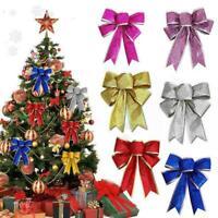 10 Stück große Schleifen Weihnachtsbaum Bowknot Ornamente Party DIY D2E3