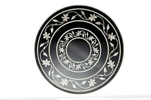 "21"" Marble coffee table top semi precious stones marquetry work home decor"
