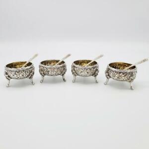 Set 4 Kirk & Son Salts w Spoons Repousse 1925-1932 Floral