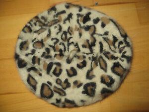 ladies animal print beret hat H&M 35% angora used good cond