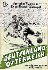 Programm Länderspiel Deutschland DFB - Österreich 22.03.53 in Köln