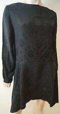Designer Black 100% Silk Floral Embossed Long Sleeve Short Smock Dress Sz:M