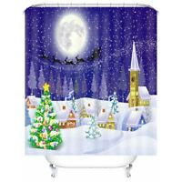 4pcs Christmas Home Shower Curtain +Bathroom Mat Rug Toilet Cover Bath Pad  US