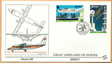 Fdc 1°Jour-Jersey-Europa Cept-Shorts 360-Aviation-Timbre.Yv.429/30