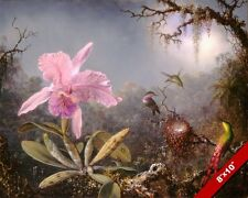 HUMMING BIRDS & TROPICAL FLOWER FOREST OIL PAINTING ART REAL CANVAS GICLEEPRINT