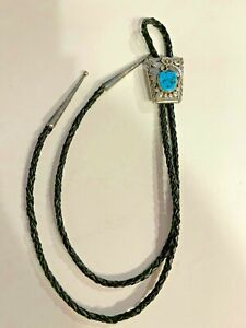 Men's Western Bolo Tie Sterling Silver with Turquoise Stone Native Southwestern