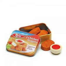 Wooden pretend role play food (Erzi) play kitchen shop: Chicken Nuggets in a tin