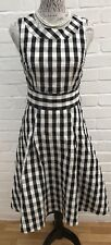 H&M Dress Size 10/36 Black White Check Fit Flare Rockabilly Gown Prom Wedding