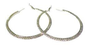 Silver Crystal Diamante Round Large Hoop Earrings Ladies Women Girls Fancy Dress