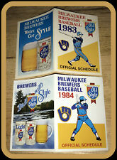 LOT OF 2 DIFFERENT MILWAUKEE BREWERS OLD STYLE BEER POCKET SCHEDULES 1983 1984