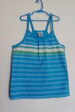 Athletic Works Teal & White Striped Sleeveless Girl's Top 14/16