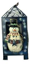 Metal Frame Holiday Hanging Lantern Christmas Candle Holder Tree Snowman snow