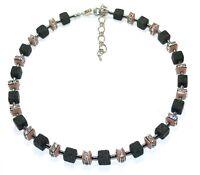 Halskette Würfelkette Kette Cube Würfel Strass schwarz braun Modeschmuck  304u