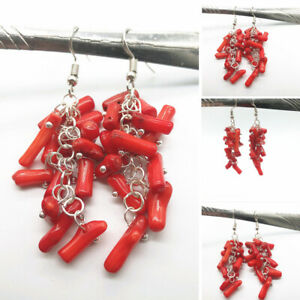 Vintage Red Coral Long Drop Dangle Earrings Hook Jewelry Accessory Party Gifts