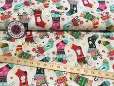 Christmas Stockings 100% Cotton Cream/Ivory Fabric - Xmas - Snow - Festive