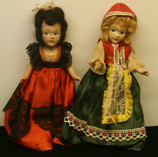"10.5"" Vintage Composition Painted Face & Real Hair Jointed Dolls"