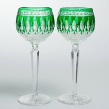 """Set of 2 Signed Waterford Crystal Clarendon Emerald Wine Hock Glasses 8"""""""