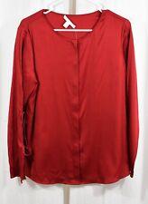 BOSS Hugo Boss Burana Stretch Silk Blouse Red Size US 8
