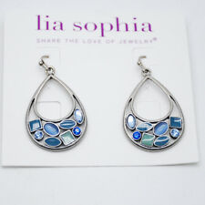 blue enamel drop earring cut crystal Lia sophia woman jewelry unique silver tone