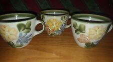 3 Vtg LOUISVILLE POTTERY Stoneware Country Flower Coffee Cup Mugs
