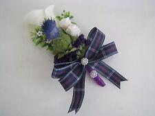 Ladies Scottish Wedding Corsage~Calla Lily/Thistle/Roses~Pride of Bannockburn