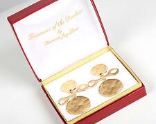 "Vintage KJL Treasures Duchess Gold Metal Haute Couture 2 7/8""H Post Earrings"