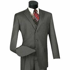 VINCI Men's Gray Banker Stripe 3 Piece 3 Button Classic Fit Suit NEW